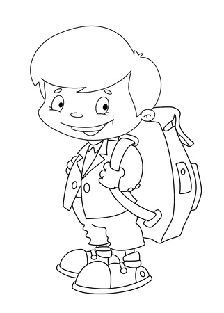 illustration of a schoolboy set outlined