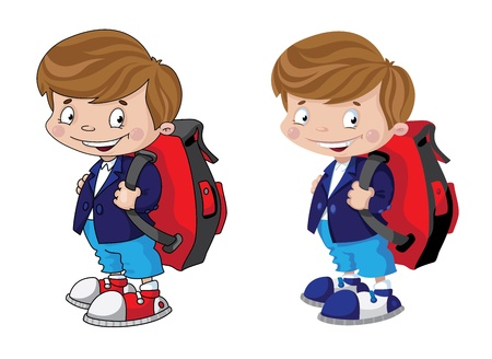 illustration of a schoolboy set Иллюстрация
