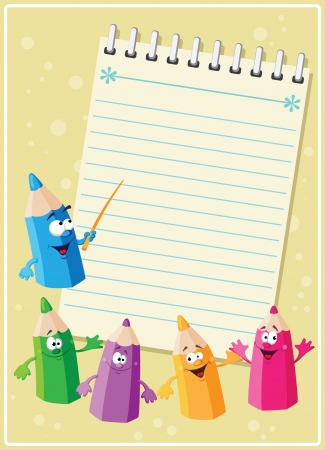 illustration of a funny pencils card Stock Vector - 16461890