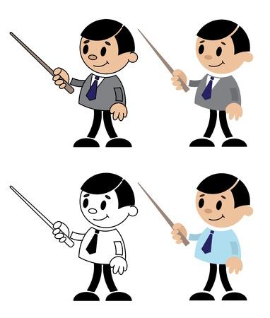 pointer stick: illustrazione di una serie di figure dell'insegnante