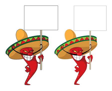mexican cartoon: illustration of a hot pepper smile with blank sign