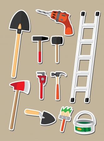 the hammer: Ilustraci�n de un conjunto de herramientas de etiqueta Vectores
