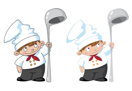 cartoon kitchen: ilustraci�n de un peque�o cocinero