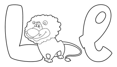 illustration of a letter L lion outlined Vector