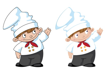 illustration of a little cute cook Vector
