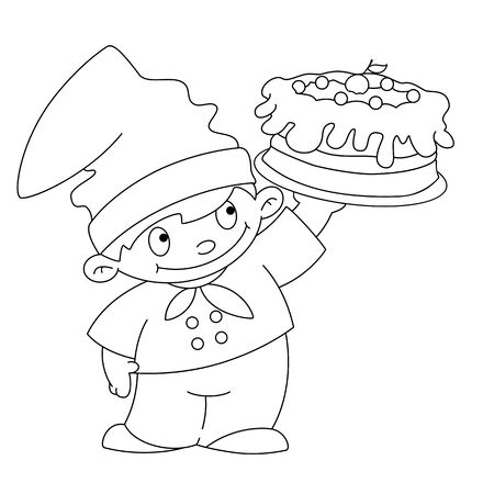 illustration of a small cook with cake outlined Stock Vector - 18483783
