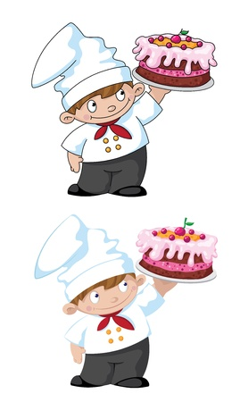 illustration of a small cook with cake Stock Vector - 18526910