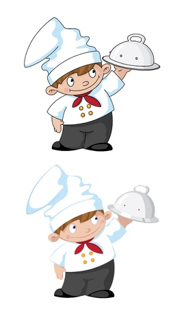 cookery: illustration of a small cook with tray