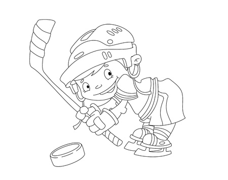 illustration of a funny boy hockey outlined Vector