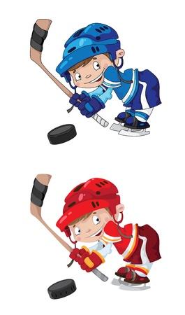 ni�o en patines: Ilustraci�n de un muchacho divertido juego de hockey