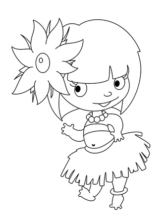 illustration of a little dancer outlined Vector