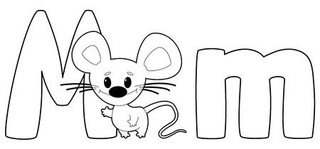 illustration of a letter M mouse outlined