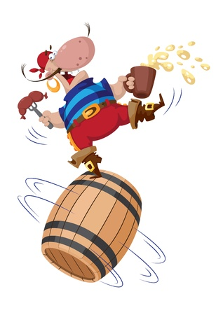 barre: illustration of a pirate on a barrel