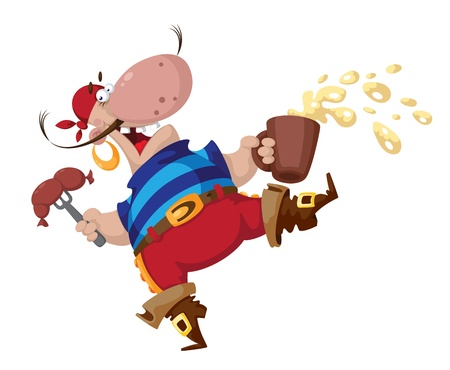 jolly roger: illustration of a pirate with sausage Illustration