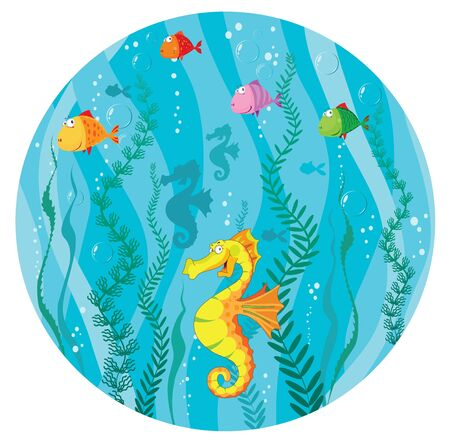 illustration of a underwater world in circle Vector