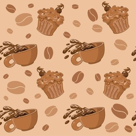 illustration of a seamless coffee and cupcakes Vector