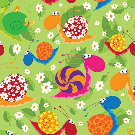 illustration of a seamless snails with flowers and leaves Vector