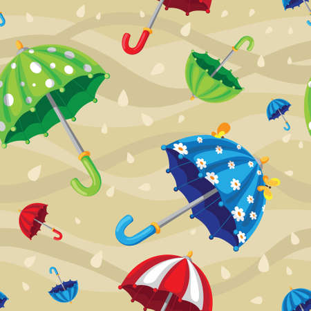 illustration of a seamless rainbow umbrellas Vector