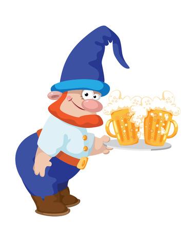enano: ilustración de un enano y una bandeja con una cerveza