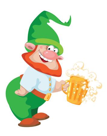 enano: ilustración de un gnomo y cerveza