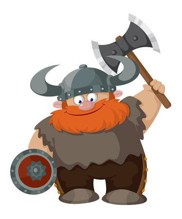 cartoon warrior: illustrazione di un cartone animato viking