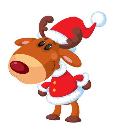 illustration of a deer Santa funny Vector