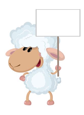 lamb cartoon: illustration of a lamb with a sign