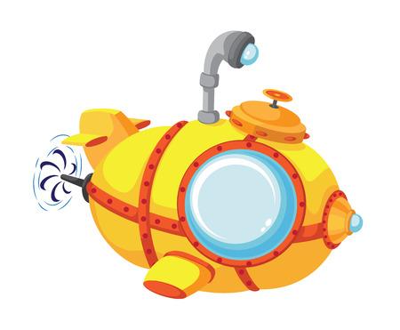 submarino: ilustración de un batiscafo de dibujos animados