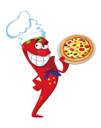 red hot pepper: illustration of a pepper cook with pizza