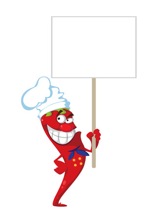 illustration of a pepper cook with blank sign Vector