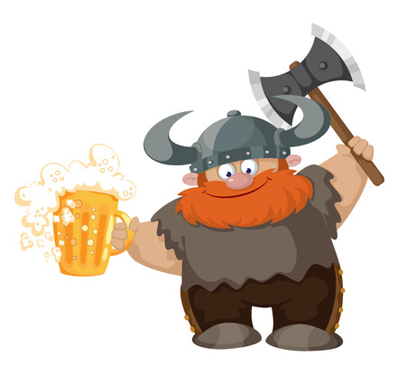 illustration of a viking and beer Vector