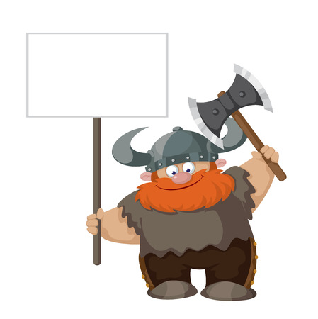 illustration of a viking with blank sign Vector