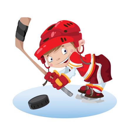 illustratie van een glimlach jongen hockey