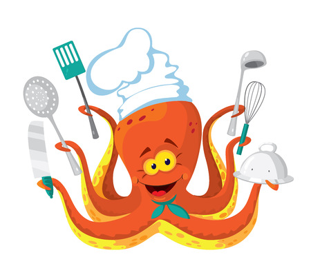 slotted: illustration of a octopus cook