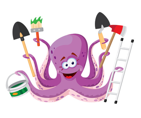 illustration of a octopus with instruments Stok Fotoğraf - 34211123