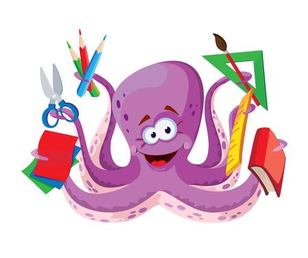 illustratie van een octopus met schoolspullen