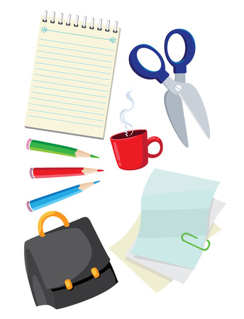 illustration of a office supplies Vector