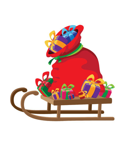 toboggan: illustration of a bag of gifts on sledge Illustration