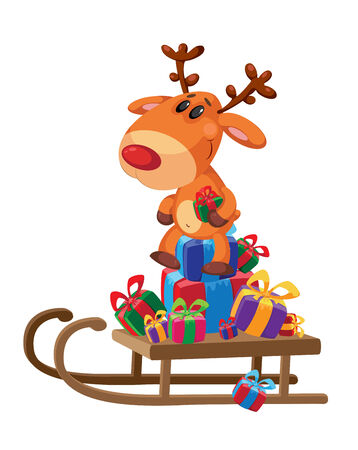 illustration of a deer sledge with gifts Vector