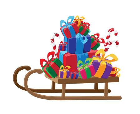toboggan: illustration of a sled with gifts Illustration
