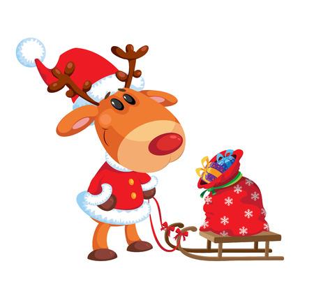 toboggan: illustration of a deer and sled with bag Illustration