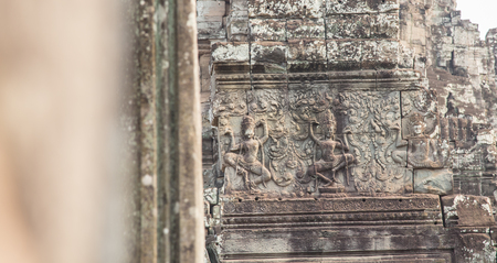 prasat bayon: Wall carving of Prasat Bayon Temple, in famous landmark Angkor Wat complex, khmer culture, Siem Reap, Cambodia