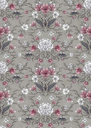 Seamless pattern, hand-drawing of intertwining branches and beautiful flowers with mysterious beetles. Solution for design fabric, wallpaper, gift paper Reklamní fotografie