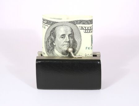 black little purse with money photo