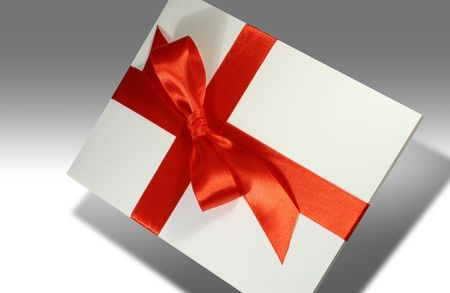 admirer: Blank white gift covered with red ribbon
