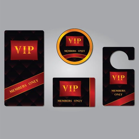 Vip members only premium platinum elegant cards design template set isolated vector illustration with the abstract background