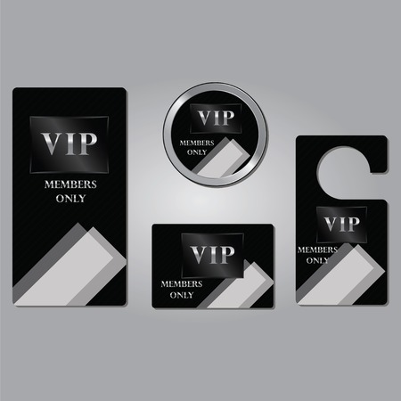 platinum: Vip members only premium platinum elegant cards design template set isolated vector illustration with the abstract background