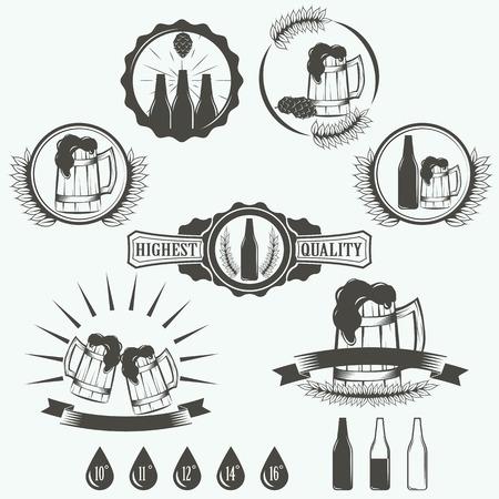 brewery: Vintage beer brewery emblems, labels and design elements
