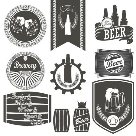 Vintage beer brewery emblems, labels and design elements