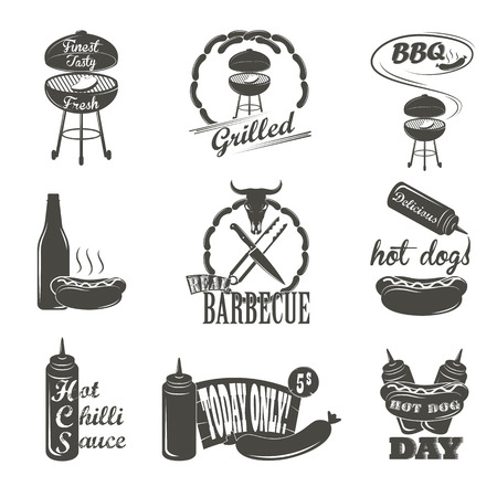 hot dog label: Hot Dog Vintage Typography Labels and Design Elements Sausages, Grill, Knife, Fork, Fire, Beer Illustration